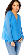 Royalblue strikbluse med glimmerkant