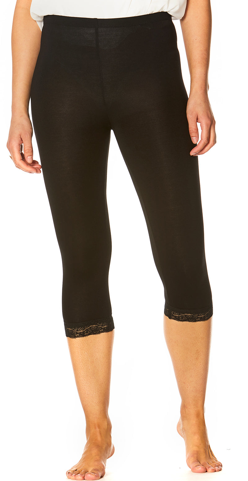 Sort capri leggings med blonde