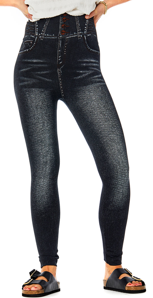 Jeggings i denimlook sort