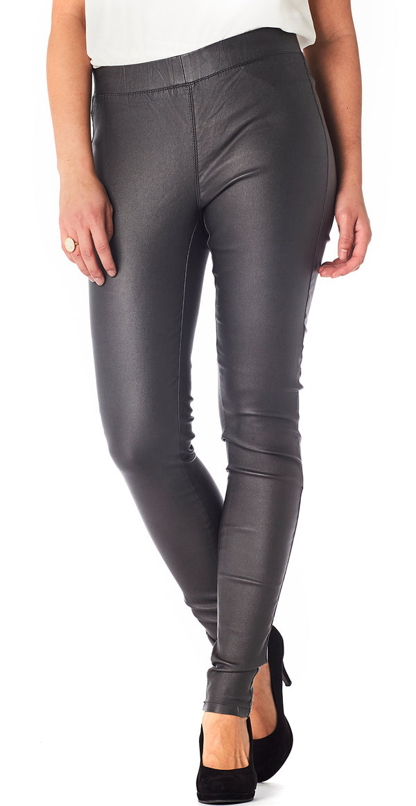 Dark dull grey læder jeggings (4502587670609)