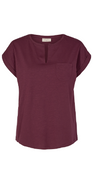 Fig/bordeaux bluse med brystlomme