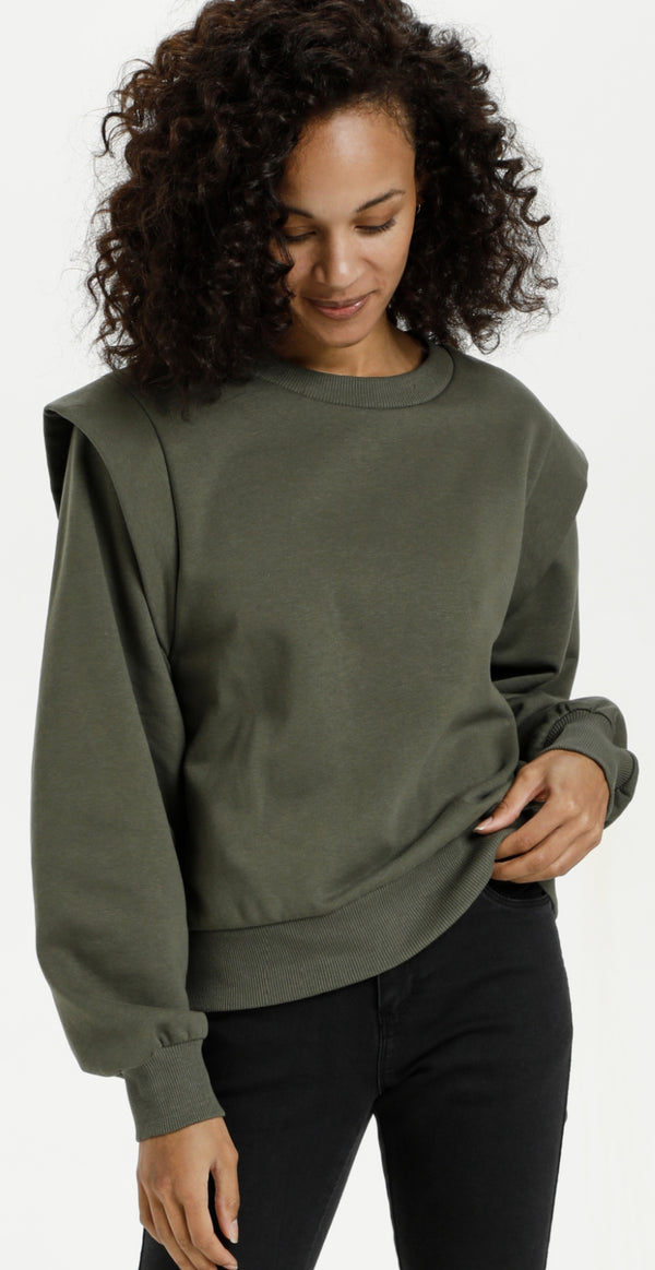 Sweatshirt grape leaf med rund hals
