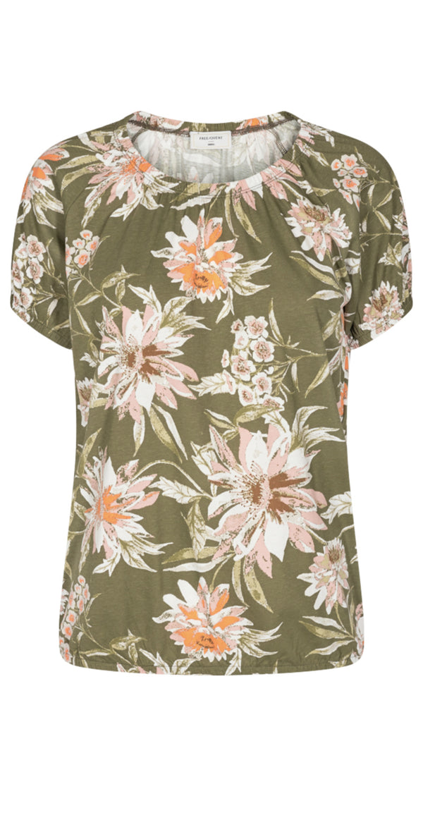 Burnt olive bluse med blomsterprint