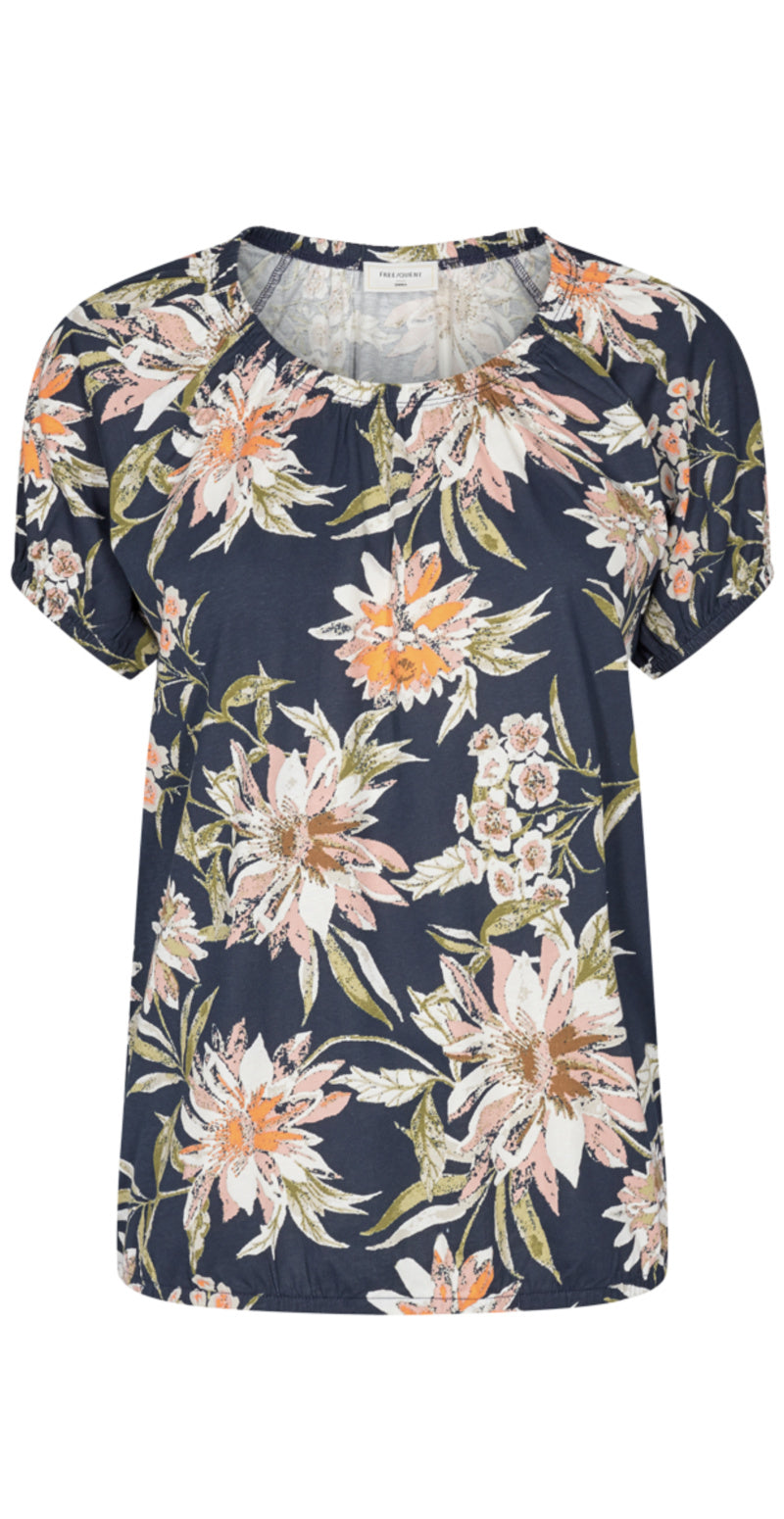 Navy bluse med blomsterprint