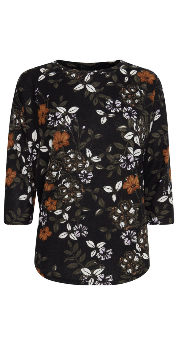 Sort bluse med blomsterprint