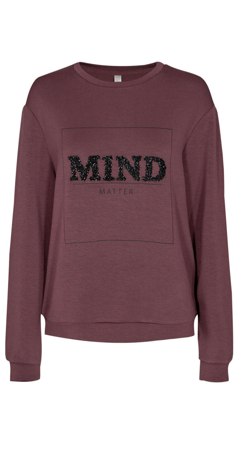 Bordeaux sweatshirt med sort glimmertryk