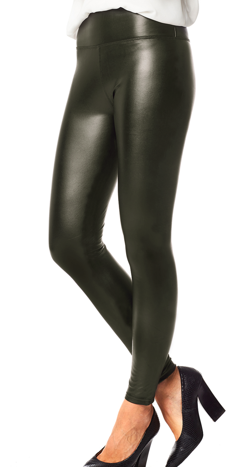 Army læderlook leggings