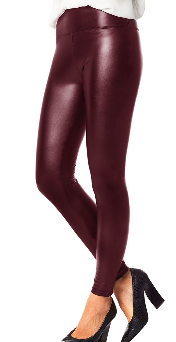 Bordeaux læderlook leggings