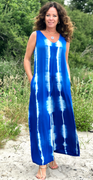 Royalblue jumpsuit med tie dye print