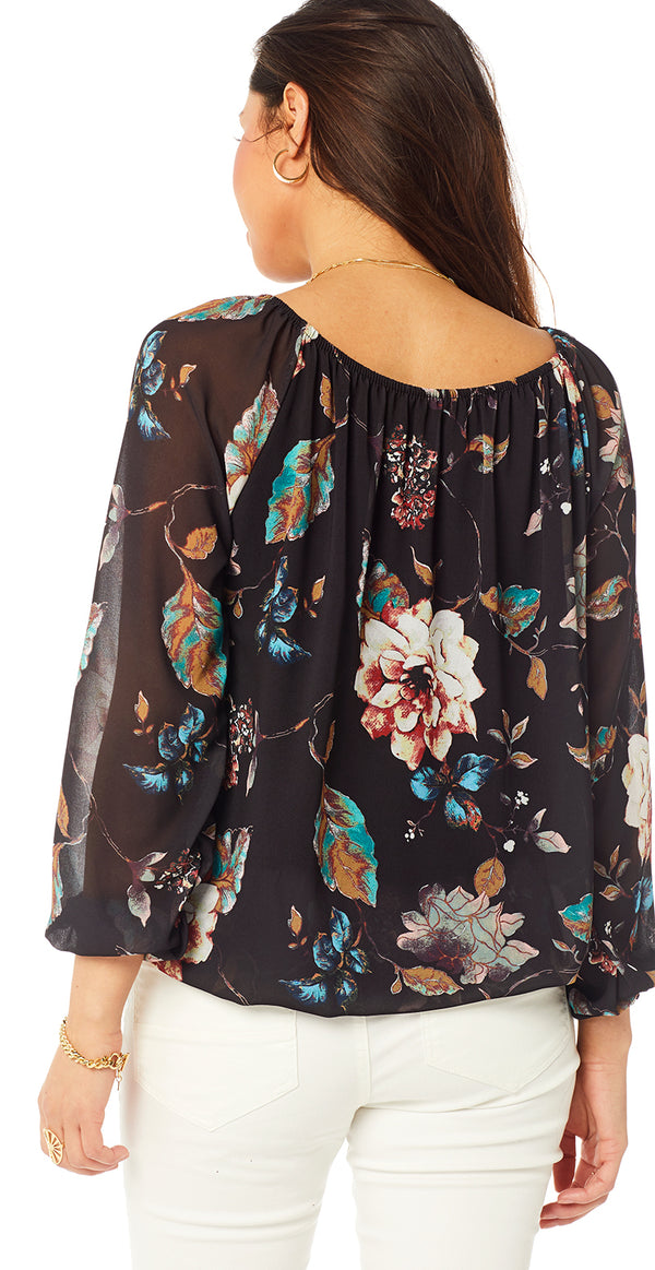 Sort bluse med blomsterprint (4502710812753)