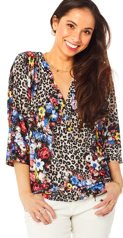 Sort bluse med blomsterprint (4502714253393)