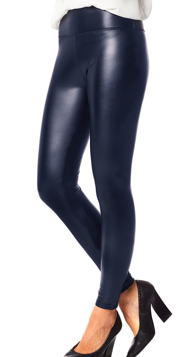 Navy læderlook leggings