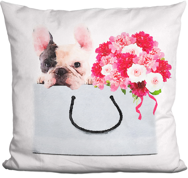 Blooming Manny the Frenchie Pillow