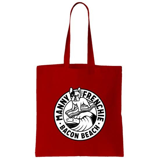 Bacon Beach Tote Bag (black & white)