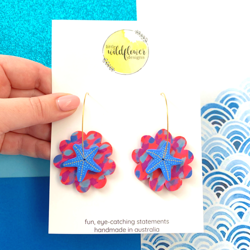 Coral Starfish Blue Hoops