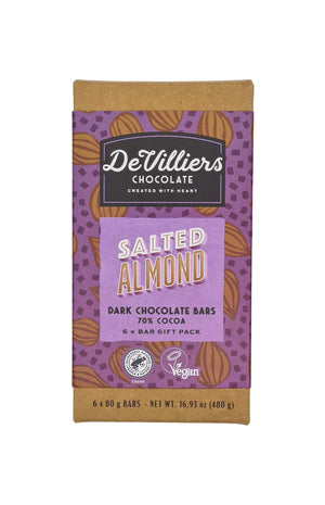SALTED ALMOND DARK CHOCOLATE BAR - de villiers chocolate us
