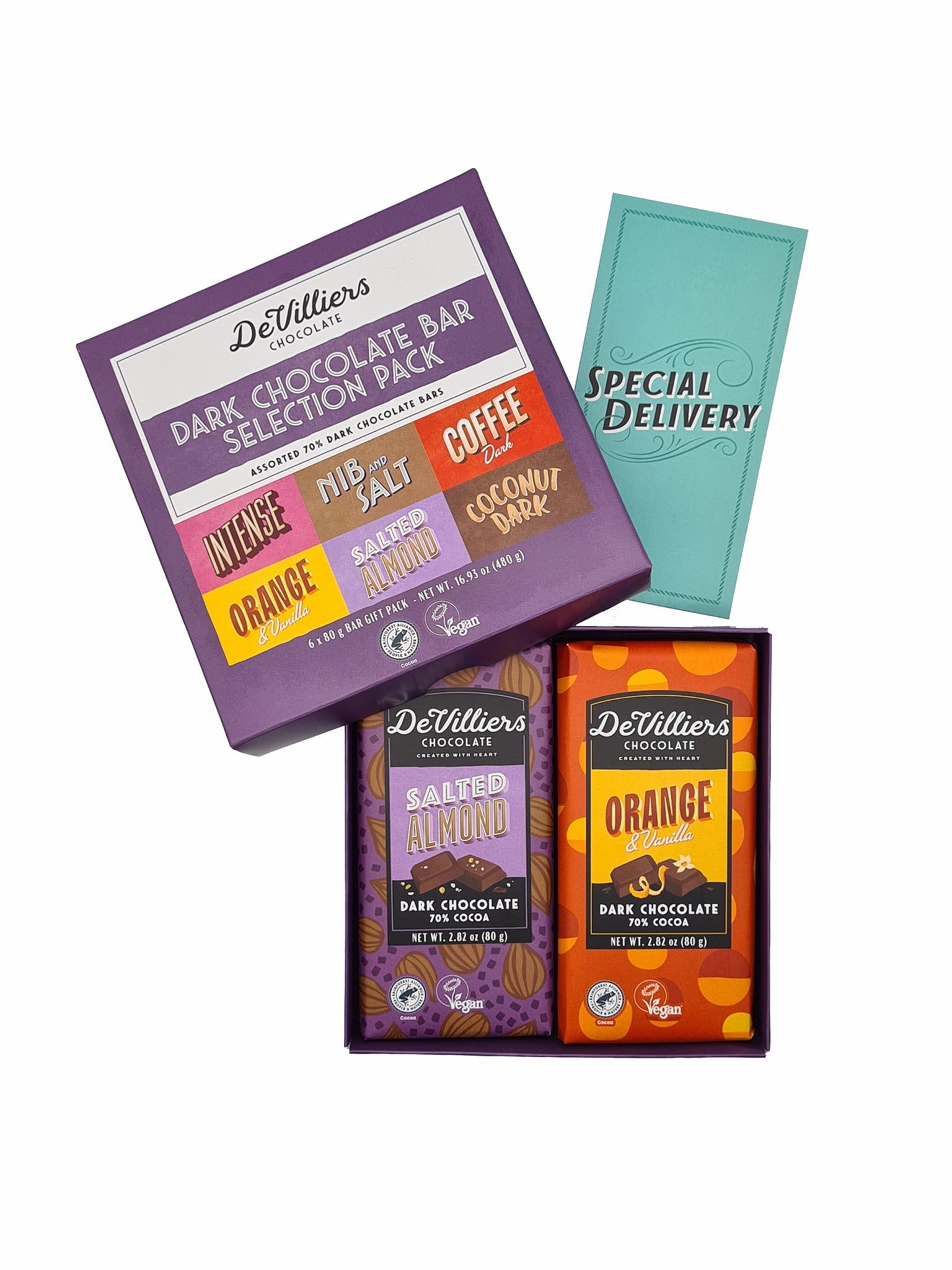 DARK CHOCOLATE BAR COMBINATION PACK - de villiers chocolate us