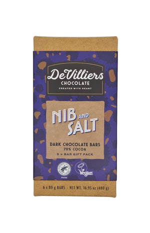NIB & SALT 70 % COCOA DARK CHOCOLATE BAR - De Villiers Chocolate
