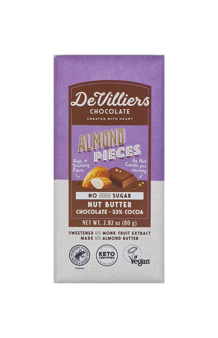 SUGAR-FREE  DAIRY-FREE MYLK ALMOND NUT BUTTER CHOCOLATE BAR - De Villiers Chocolate