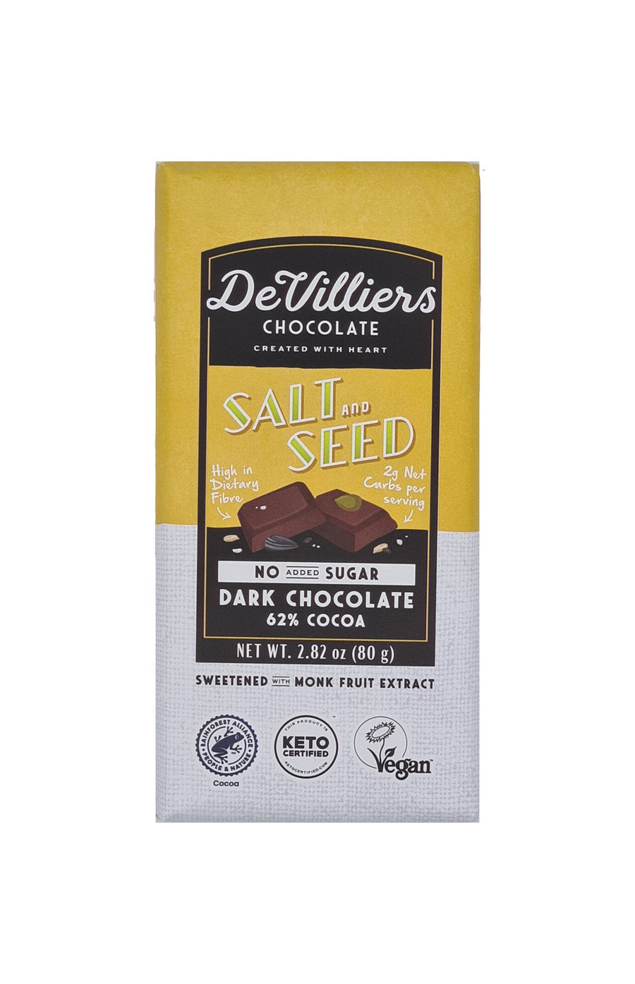 NO-ADDED-SUGAR SALT AND SEED 62 % COCOA  DARK CHOCOLATE BAR - de villiers chocolate us