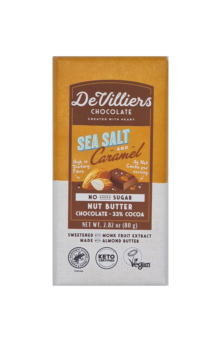 SUGAR-FREE  DAIRY-FREE MYLK SEA SALT AND CARAMEL NUT BUTTER CHOCOLATE BAR - De Villiers Chocolate