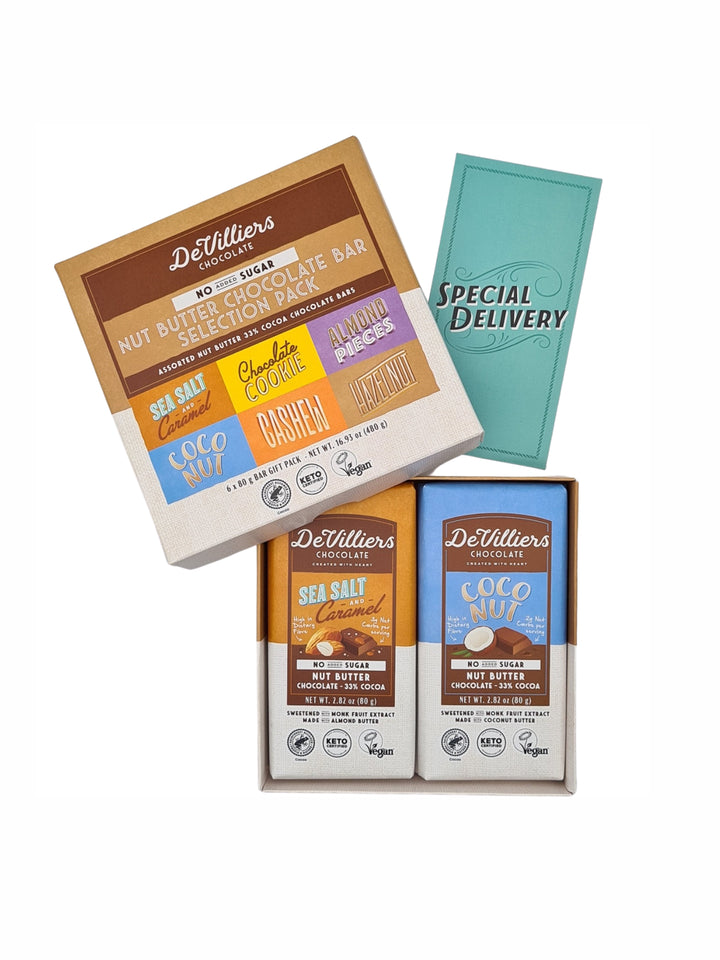 SUGAR-FREE  DAIRY-FREE MYLK NUT BUTTER BAR COMBINATION - PACK OF 6 BARS OF 2.82 OUNCE EACH - De Villiers Chocolate