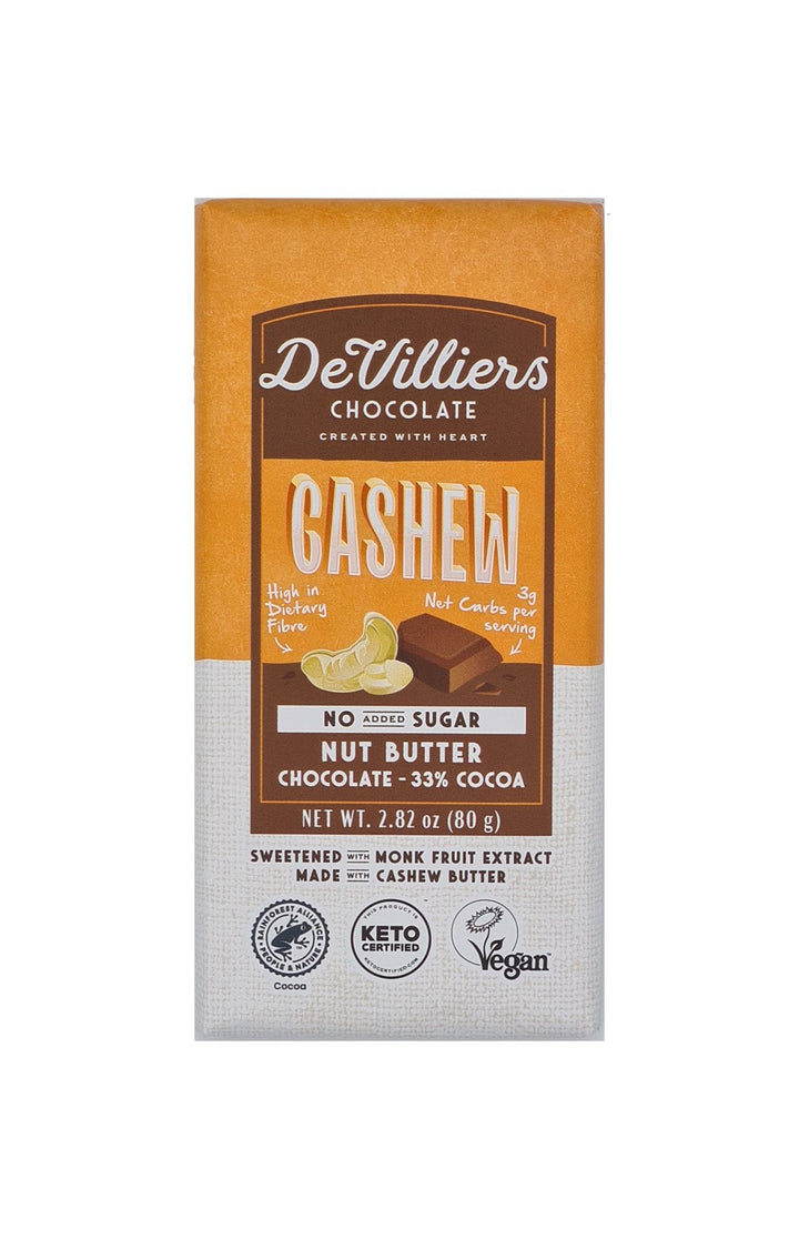 SUGAR-FREE  DAIRY-FREE MYLK CASHEW NUT BUTTER CHOCOLATE BAR - de villiers chocolate us