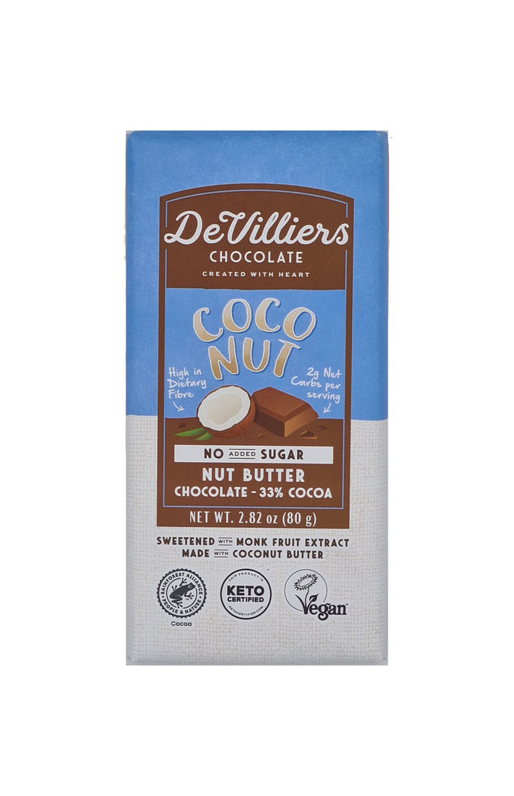 SUGAR-FREE  DAIRY-FREE MYLK COCONUT NUT BUTTER CHOCOLATE BAR - De Villiers Chocolate