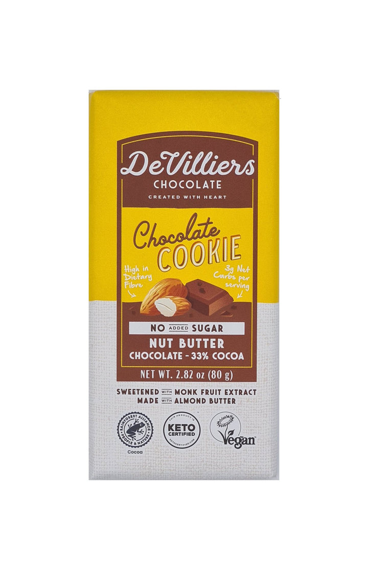 SUGAR-FREE  DAIRY-FREE MYLK CHOCOLATE COOKIE NUT BUTTER CHOCOLATE BAR - De Villiers Chocolate