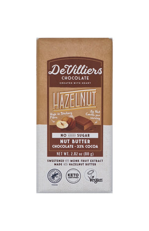 SUGAR-FREE  DAIRY-FREE MYLK HAZELNUT NUT BUTTER CHOCOLATE BAR - De Villiers Chocolate