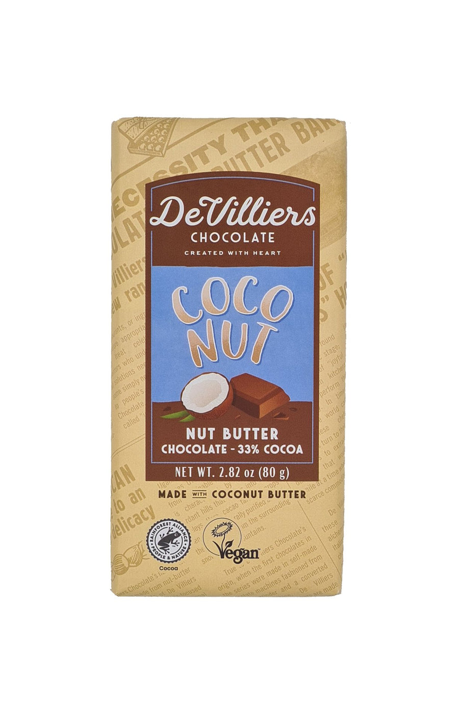 DAIRY-FREE MYLK COCONUT NUT BUTTER CHOCOLATE BAR - de villiers chocolate us