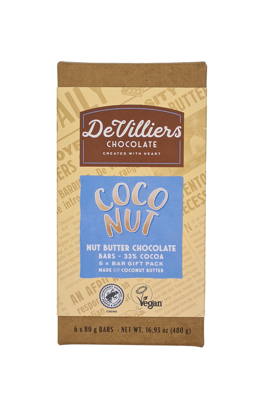 DAIRY-FREE MYLK COCONUT NUT BUTTER CHOCOLATE BAR - De Villiers Chocolate