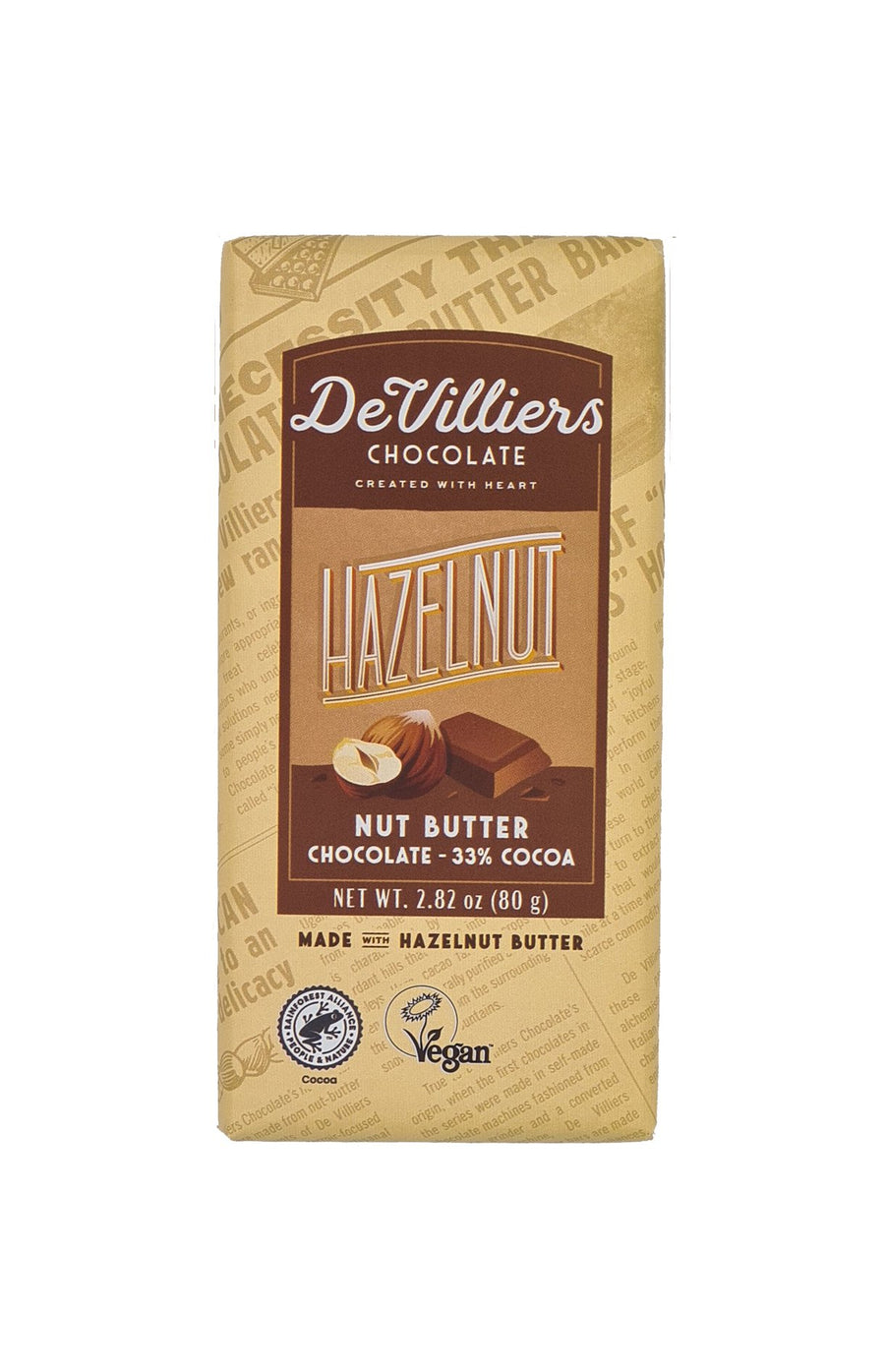 HAZELNUT NUT BUTTER CHOCOLATE BAR - de villiers chocolate us