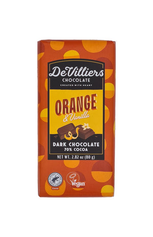 ORANGE & VANILLA DARK CHOCOLATE  BAR - De Villiers Chocolate