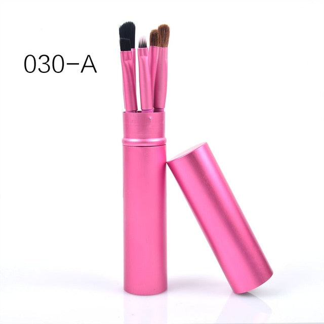 5 Piece Makeup Brush Set With Cup Tube Holder