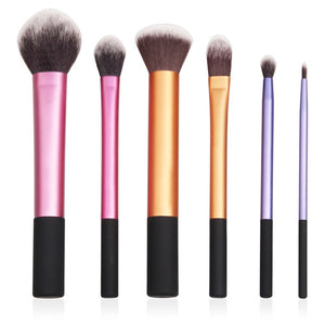 6 Piece Colorful Pro Makeup Brush Set