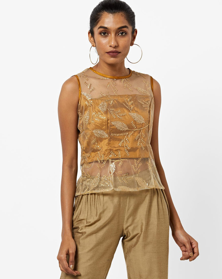 Printed Gold Sleeveless Round Neck Regular Top