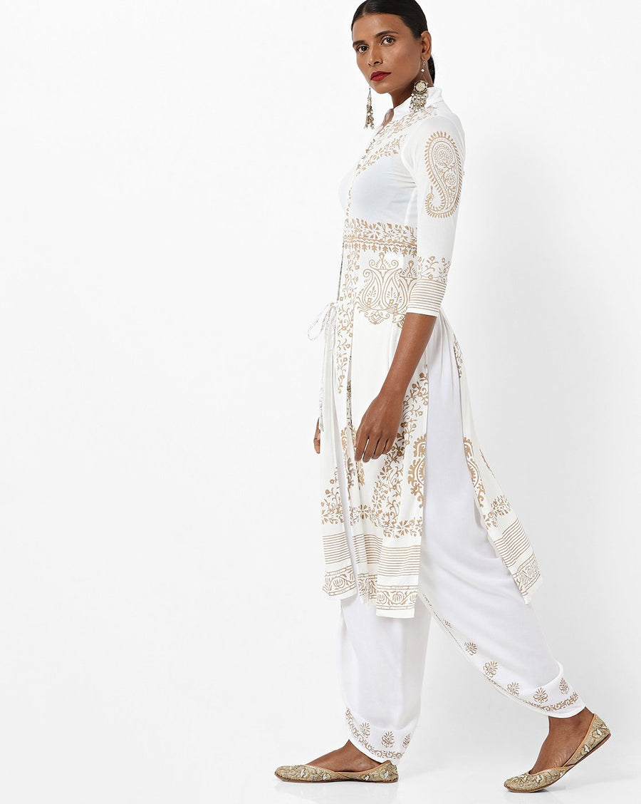 Printed White Full Sleeve Mandarin Collar Calf Length Shrug