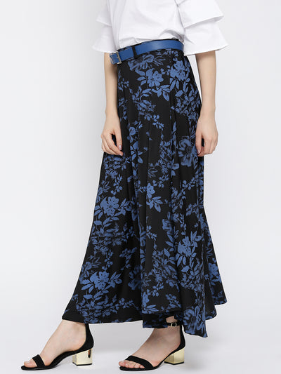 Ira Soleil Floral Printed Asymmetric Flared Skirt