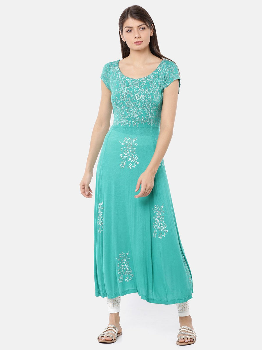 Turquoise Color Cap Sleeve Round Neck Calf Length Kurti