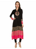 Printed Black Full Sleeve Mandarin Collar Straight Kurti