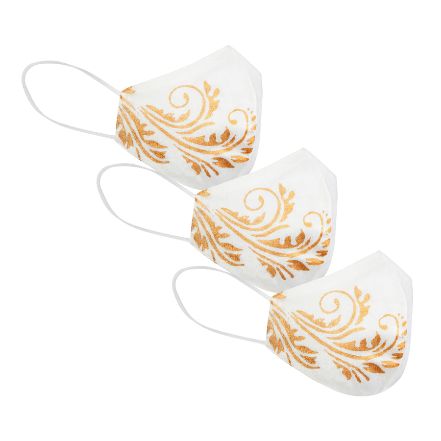 Printed Masks Pack of 3 in White