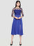Printed Blue Three-Fourth Sleeve Round Neck Mid-Thigh Dress