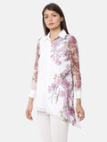 Graphic Printed White Full Sleeve Collar Asymmetric Kurti