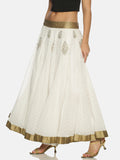 Printed White Flared Floor Length Skirt