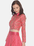 Printed Pink Full Sleeve Round Neck Waist Length Jacket
