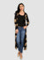 Golden Floral Print Black Full Sleeve Calf Length Shrug