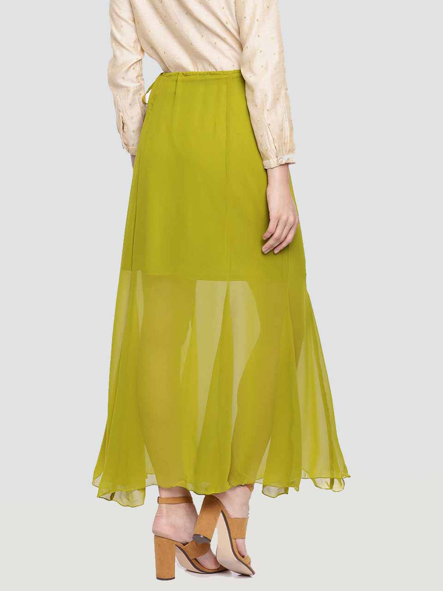 Plain Green Calf Length Skirt