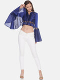 Printed Blue Full Sleeve Round Neck Flared Crop Jacket