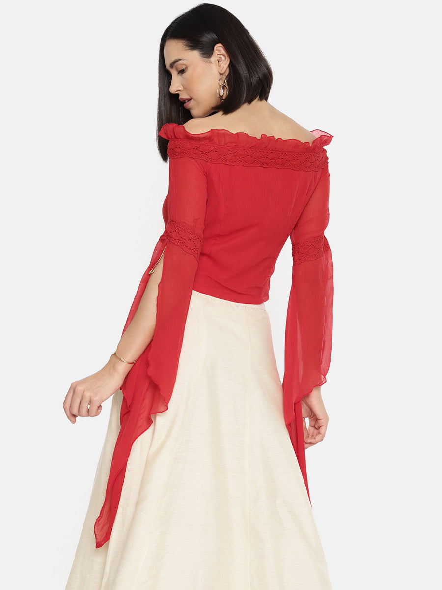 Ira Soleil Capelet Sleeve Off-Shoulder Top
